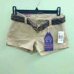 NWT WALLFLOWER Tan shorts with woven belt size 0